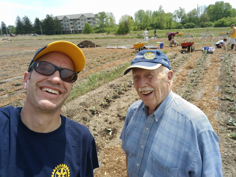 Jeff and Keith volunteer at the May 2018 Lawrence Chamber of Commerce Better Together service event at Lawrence Community Gardens
