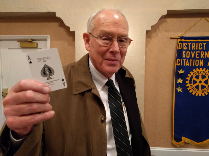 Visiting Rotarian Jim drew the Ace! Come to one of our meetings, we'll explain why this is a momentous occasion - and you could draw the Ace too!