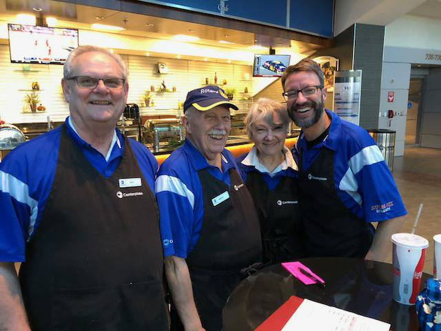 Serving during a Colt's game - Pat, Keith, Sedonia, Jeff